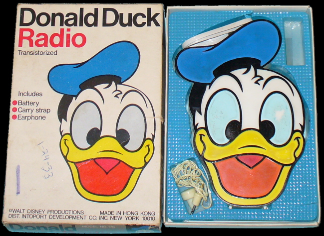 This Is A 725 Plastic Transistor AM Radio Shaped In The Form Of Donald Ducks Smiling Face And Head It Operates With Single 9 Volt Battery