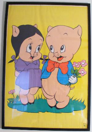 This Is A Framed 36x24 Wall Poster Showing Porky Pig And Petunia Flirting With One Another On Patch Of Grass Holds Three Pink Flowers In His