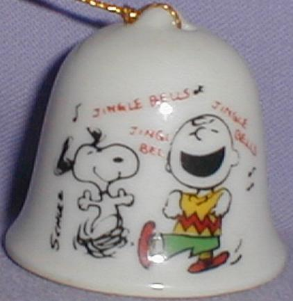 This Is A 1 75 Ceramic Bell Shaped Christmas Ornament Showing Snoopy Happily Dancing Beside A Jubilant Charlie Brown Who Is Also Dancing